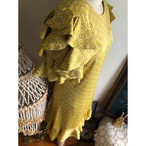 Kate Spade Yellow ruffle sleeve shift dress